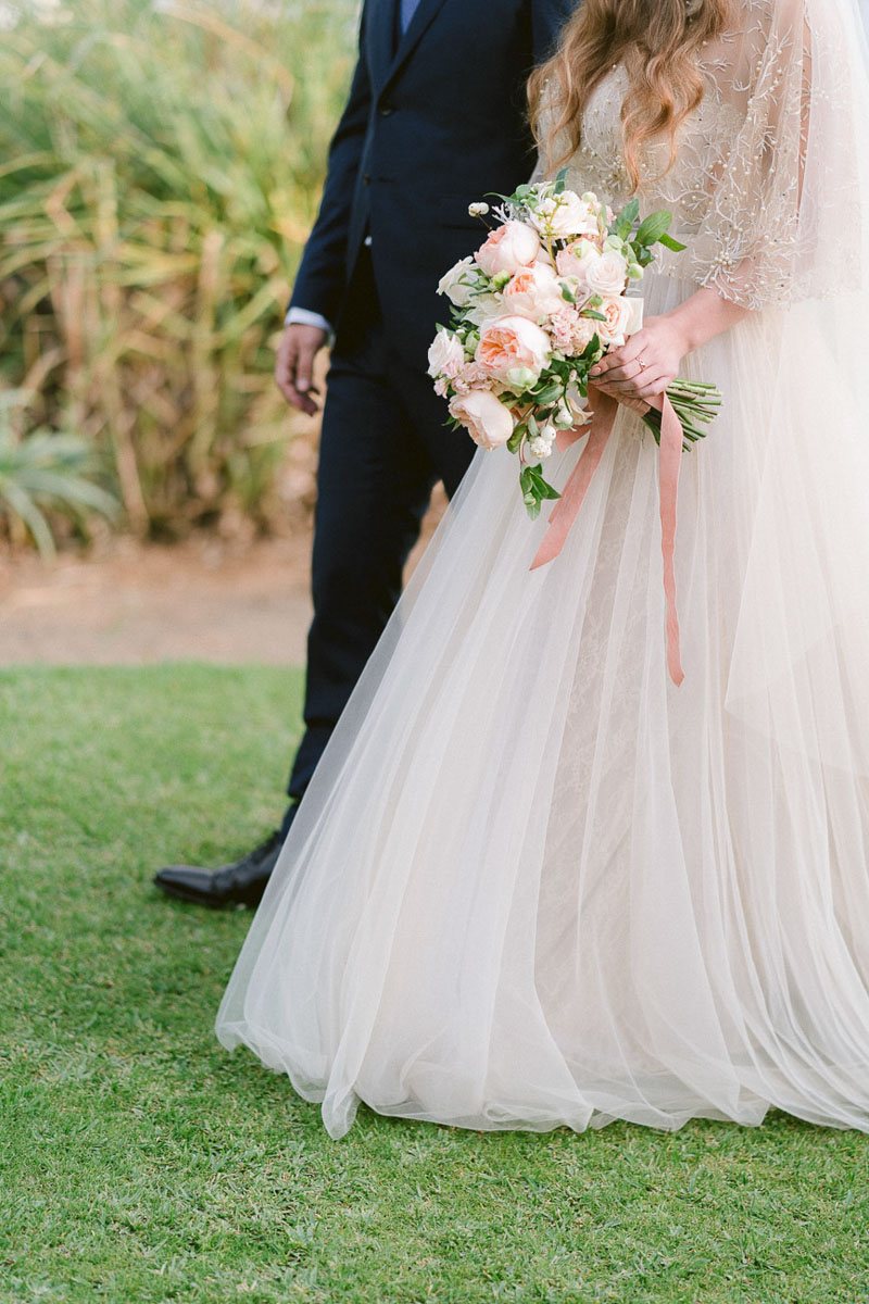 Couple with Wedding Bouquet Tikitano Beach Marbella