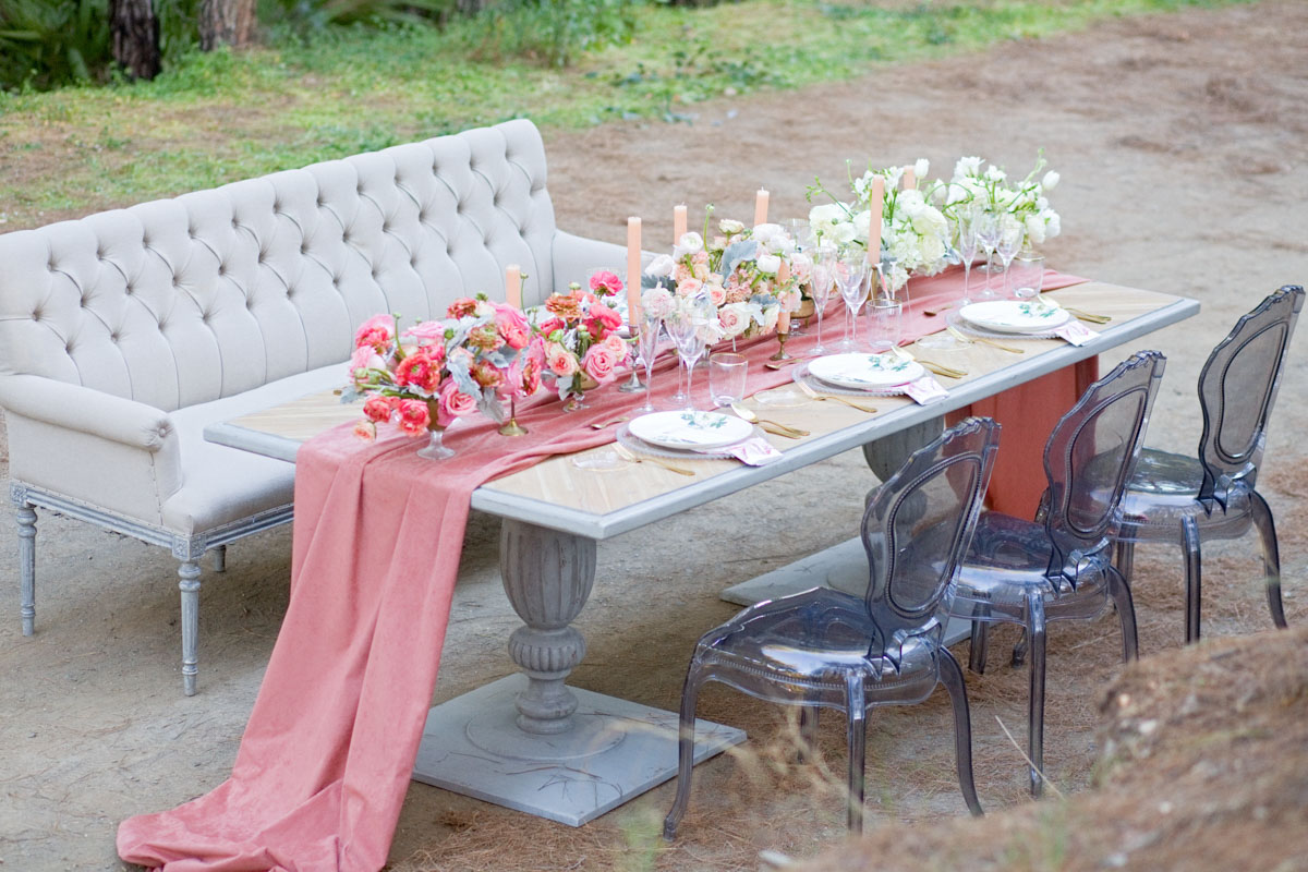 Table decoration and flowers in a forest